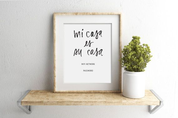 wifi password printable sign | guest room sign | mi casa es su casa | editable | customize | 8 x 10 | 5 x 7 | instant digital print