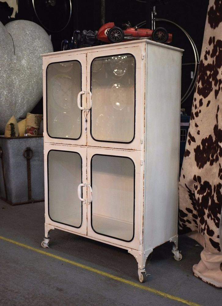 These medical cabinets looking equally at home in the kitchen or bathroom. Finished with distressed white painted metal, glass doors and with 4 castors. | eBay!
