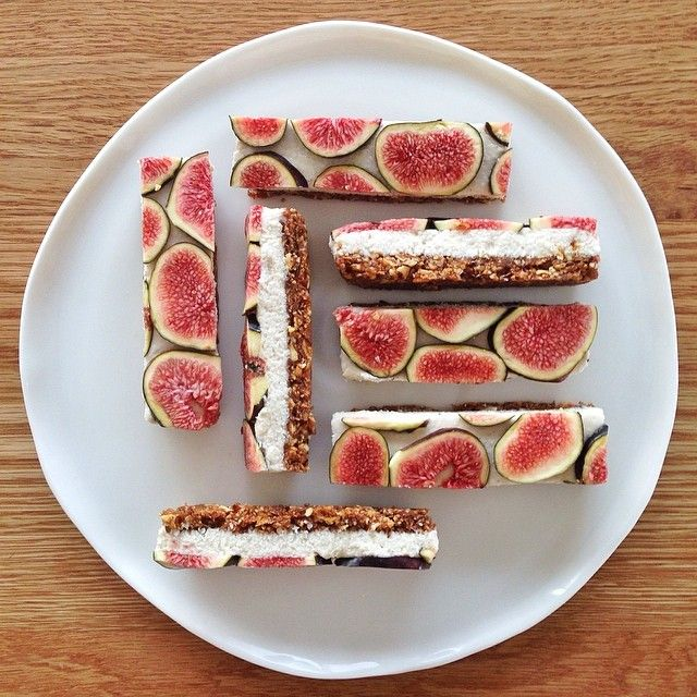 ... fig base, layered with vanilla coconut cashew cream, topped with fresh