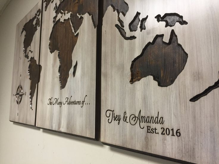 46 best art images on pinterest world maps barn wood and map wall art 3 panel world map large rustic world map wall art carved home decor gumiabroncs Image collections