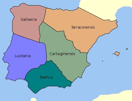 División administrativa de Hispania en tiempos de Diocleciano (298). En cinco provincias.