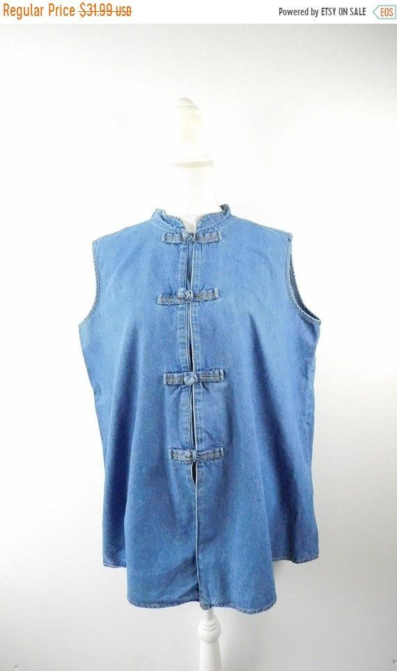 1a6e331d2f4b5d 35% BLOWOUT SALE Vintage 90s On The Rocks Blue Denim Knotted Button Up  Military Army Inspired Mandarin Collar Sleeveless Shirt Top Sz Large by ...