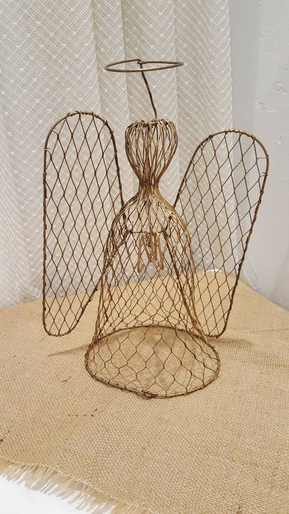 Vintage Angel Tree Topper, Unique Chicken Wire Appearance