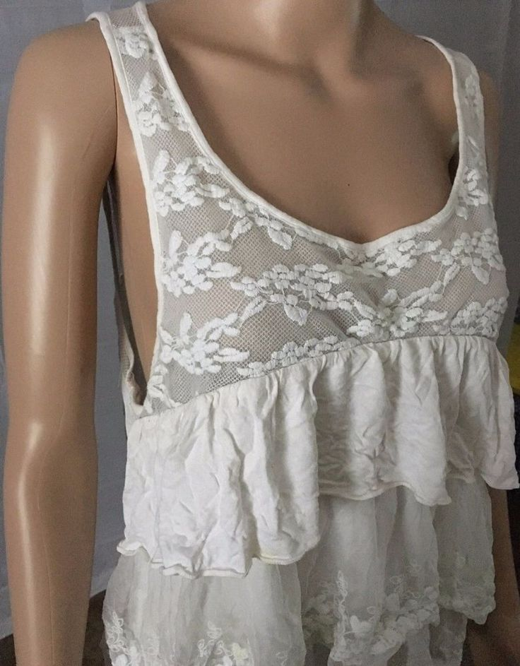 AMERICAN EAGLE Tank Top Sz XL White Cream Floral LACE Ruffled Shirt Women  #AmericanEagleOutfitters #TankCami