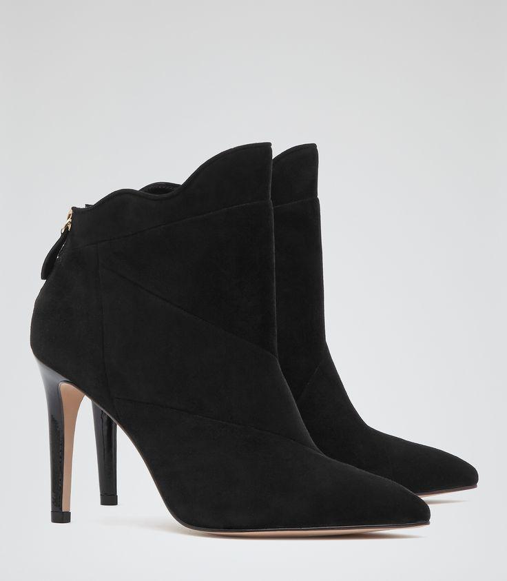 Womens Black Wavy-cut Ankle Boots - Reiss Capri