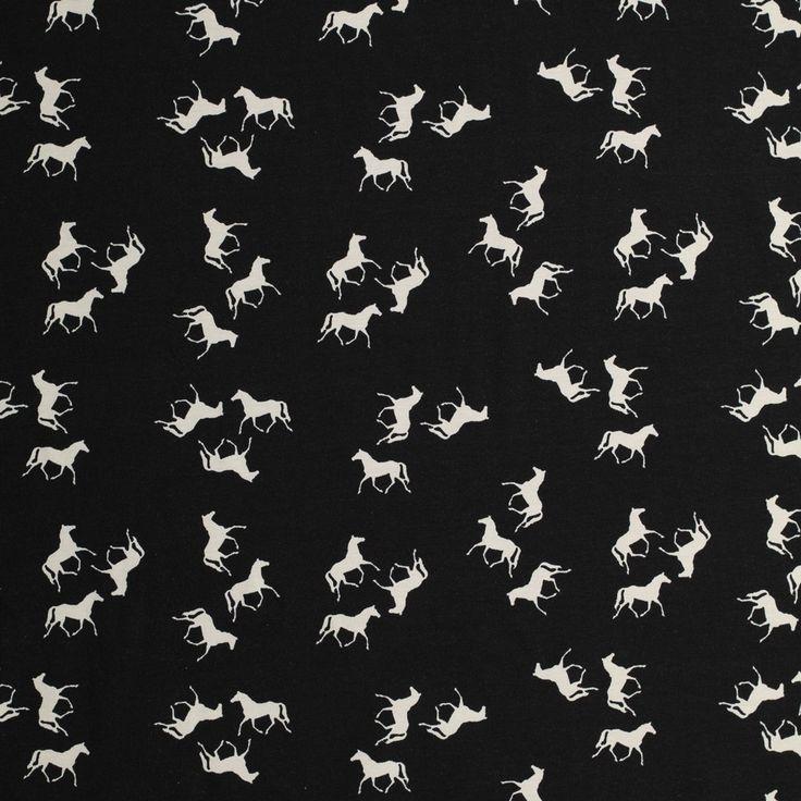 zwart katoen stretch jersey met witte paarden bedrukt milliblus