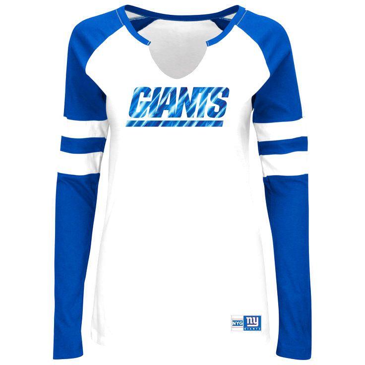 New York Giants Majestic Women's Coin Toss V-Notch Long Sleeve T-Shirt - White - $31.99