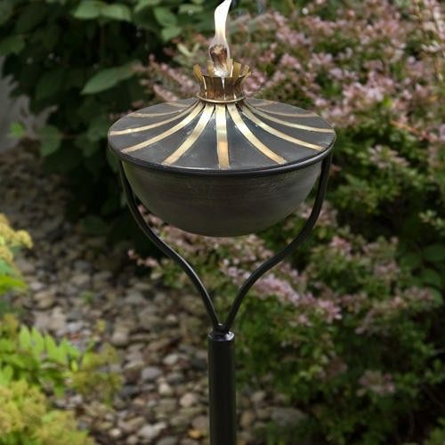 Brass+Accented+Zinc+Garden+Torch+with+Traditional+Yard+Stake+-+Weathered+Zinc