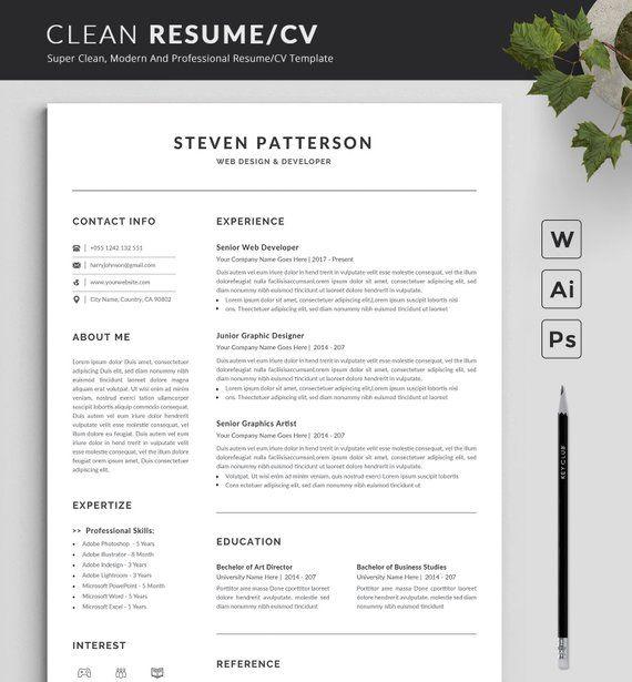 Modern And Creative Resume Template Modern Professional Etsy Resume Template Professional Infographic Resume Resume Template