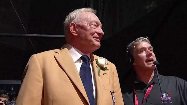 Jerry Jones unveils his bust alongside wife Gene Jones