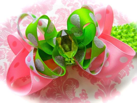 Princess polka dot Bow 5 inches 3 tiers and beautiful by ashligug, $7.25