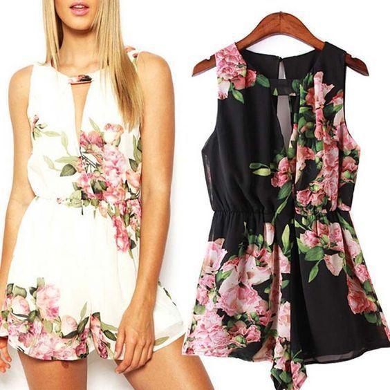 Tuta corta tutina jumpsuit stampa floreale chiffon smancata estiva bianca nera