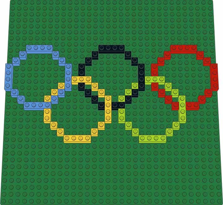 Olympic Rings LEGO mosaic