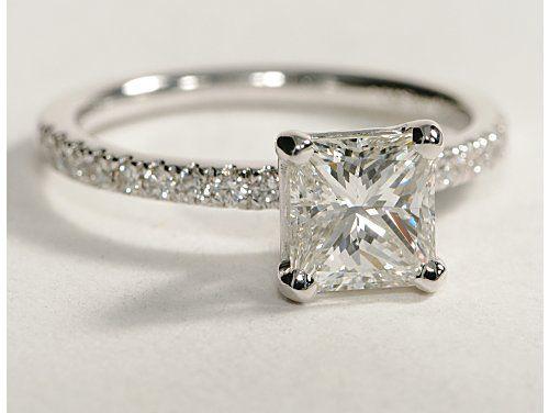 Blue Nile: Princess Cut, Petite Pave Diamond Engagement Ring. Love this style.