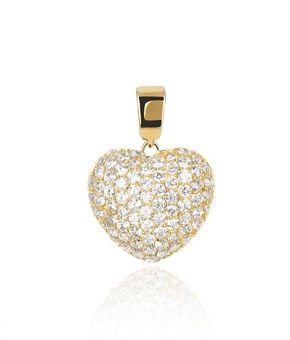 PENDANT SPARKLE FOREVER GOLD PLATED AND SET WITH CLEAR CUBIC ZIRCONIA 19X17MM - Jons Family Jewellers