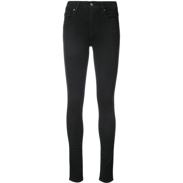 Levi's 721 Hi Rise skinny jeans (1,515 MXN) ❤ liked on Polyvore featuring jeans, black, skinny jeans, denim skinny jeans, skinny leg jeans, cut skinny jeans and levi jeans