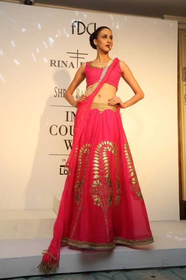 Rina Dhaka at India Couture Week 2014 - pink lehnga