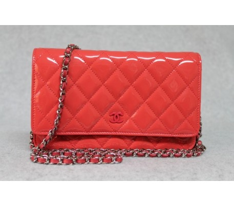 Chanel 2012 Coral Quilted Patent Leather WOC Wallet On a Chain Bag
