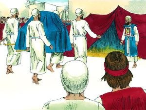 They brought theArk and set it inside the tent that David had pitched for it. David sacrificed burnt offerings and fellowship offerings and blessed everyone in the name of the Lord. He gave a loaf of bread, a cake of dates and a cake of raisins to each person in the crowd. Then everyone returned home. – Slide 17