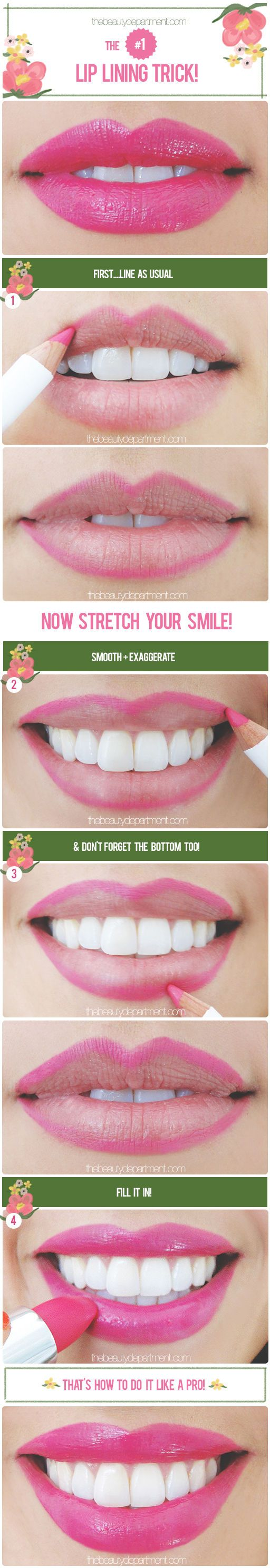 beauty trick: apply lip liner while smiling to ensure a smooth application