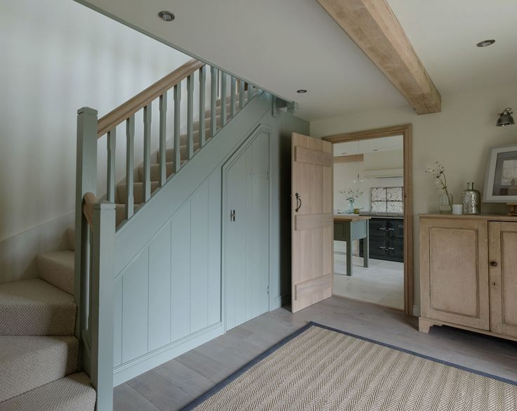 Entrance hallway, oak frame, grey oak floorboards, border oak