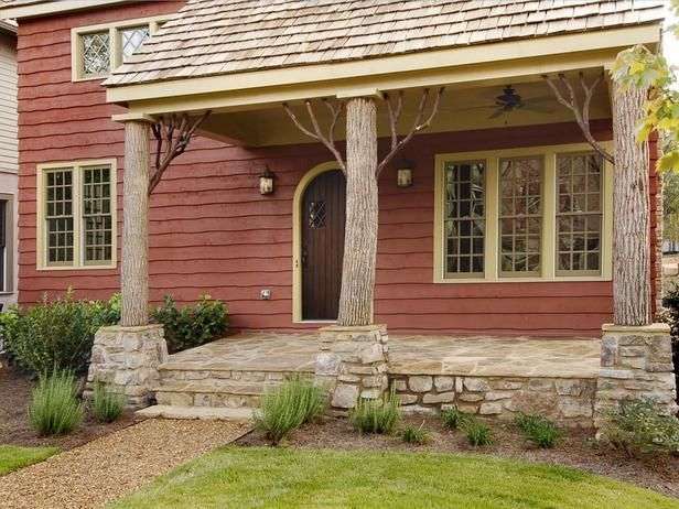 28 best homes styles images on pinterest for Rustic porch columns
