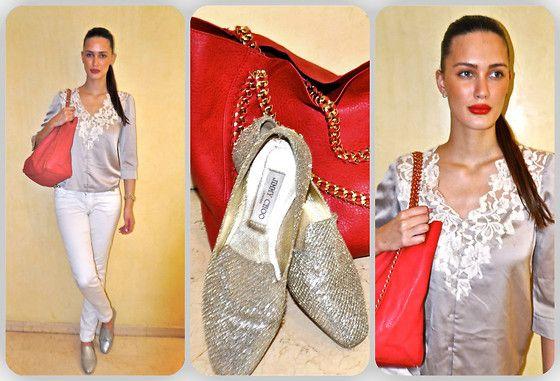 H Top, Melany Brown London Bag, Jimmy Choo Loafers, Zara Jeans