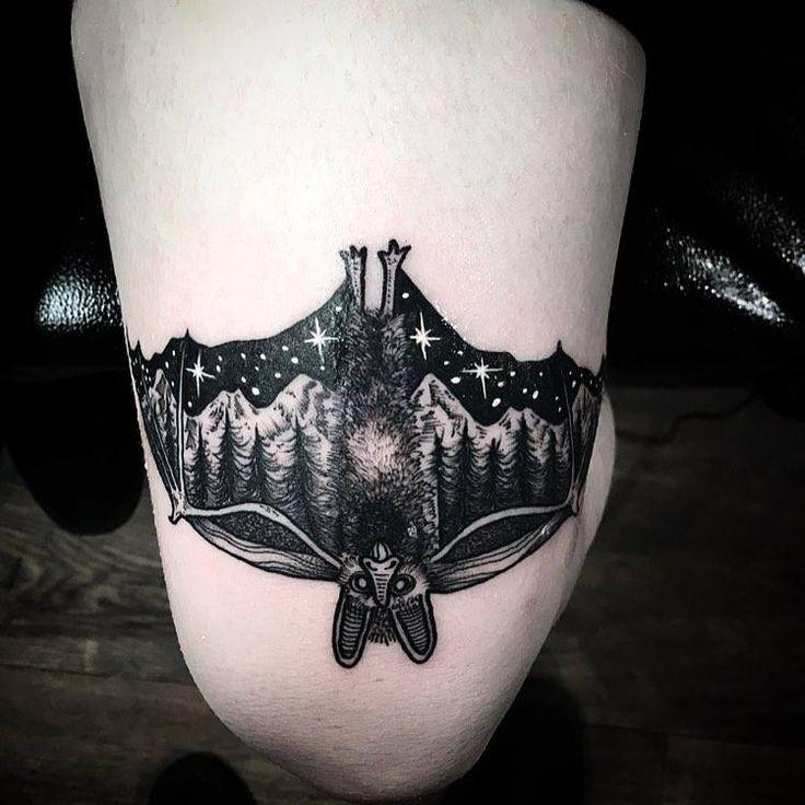 Pinterest: @MagicAndCats ☾ bat tattoo night sky