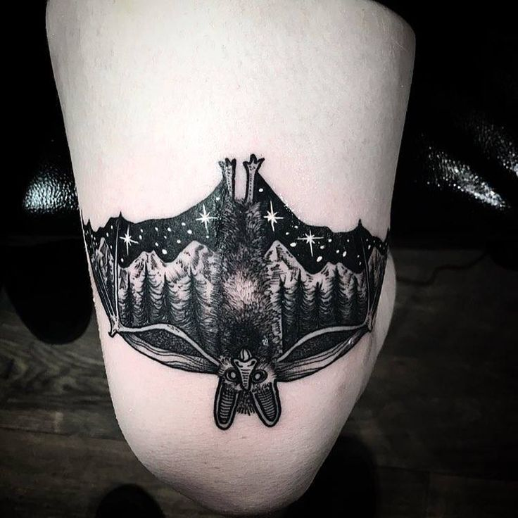 Pinterest: @MagicAndCats ☾ bat tattoo night sky