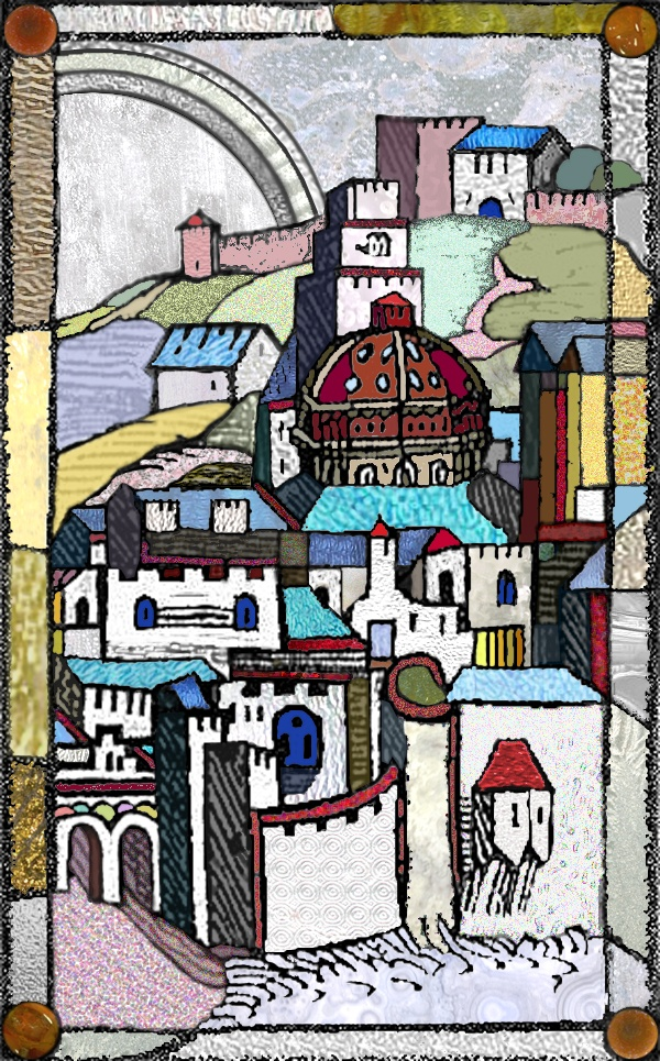 Yuri Yudaev. «City - Horus» / Stained glass project - digital esquisse «Rainbow». 2002; real size 102 x 62 cm.