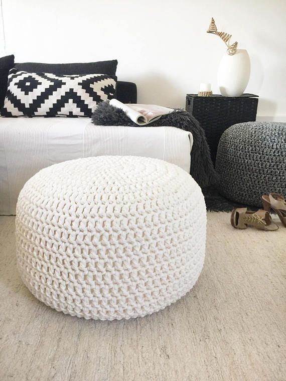 Large Round Crochet Pouf Pearl Ottoman Coffee Table Nursery Glider Footstool Stuffed Chunky Knit Pouffe Ultimate Gift For New Mom Pouf Ottoman Living Room Floor Pouf Crochet Pouf