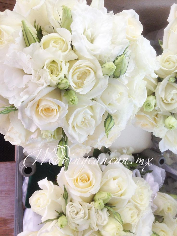 #white lisianthus and roses #bridal #bouquet #weddingcancun by #latinasia