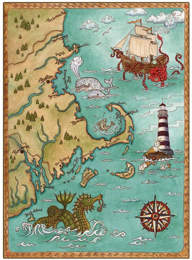 New England Coastal Map Cape Cod Sea Monster Art Print Giclee. $18.00, via Etsy.