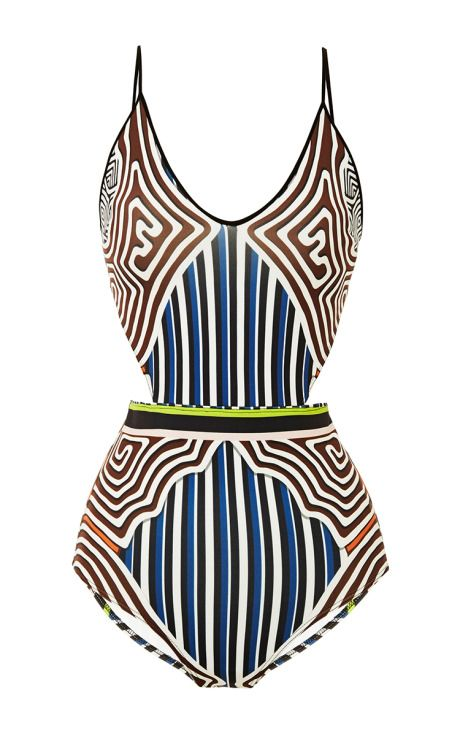 Striped Labyrinth Cut Out Swimsuit by Clover Canyon for Preorder on Moda Operandi