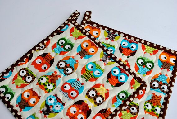 Owl Potholders, Quilted Potholders, Fabric Potholders on Etsy, $17.50