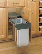 Double Bottom Mount Covered Stainless Steel Waste Containers This Stainless Steel Sink Base Pullout Waste Container is ideal for kitchen, v...