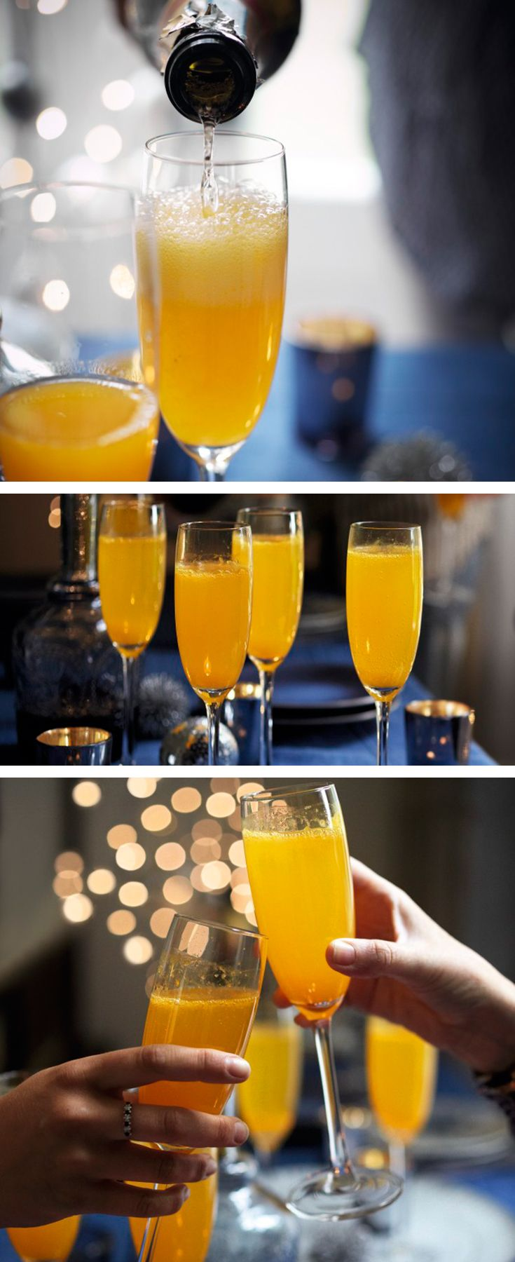 Clementine bellinis – a festive twist on a classic sparkling cocktail. Find more Christmas cocktails on the Waitrose website.