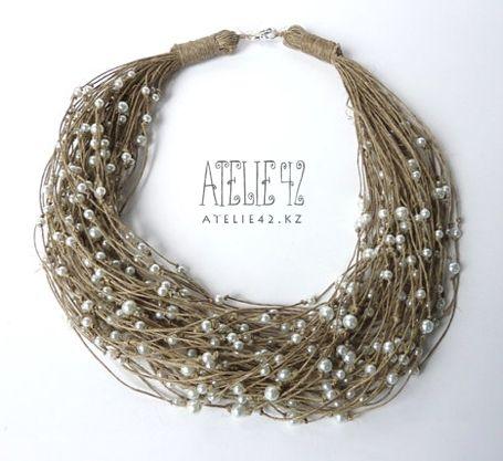 cuello de Tejido a partir de Hilos lnyanogy estafa perlas
