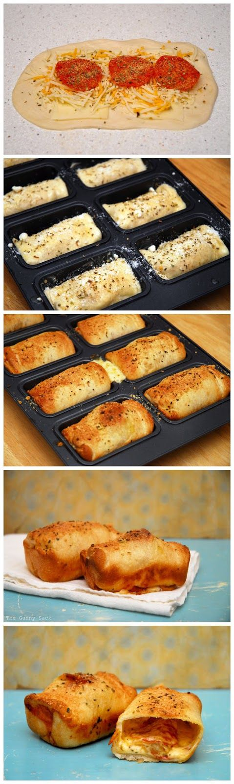 Mini Pepperoni Loaves - Yes, you cheat by using dinner roll dough but it's good & fast :)