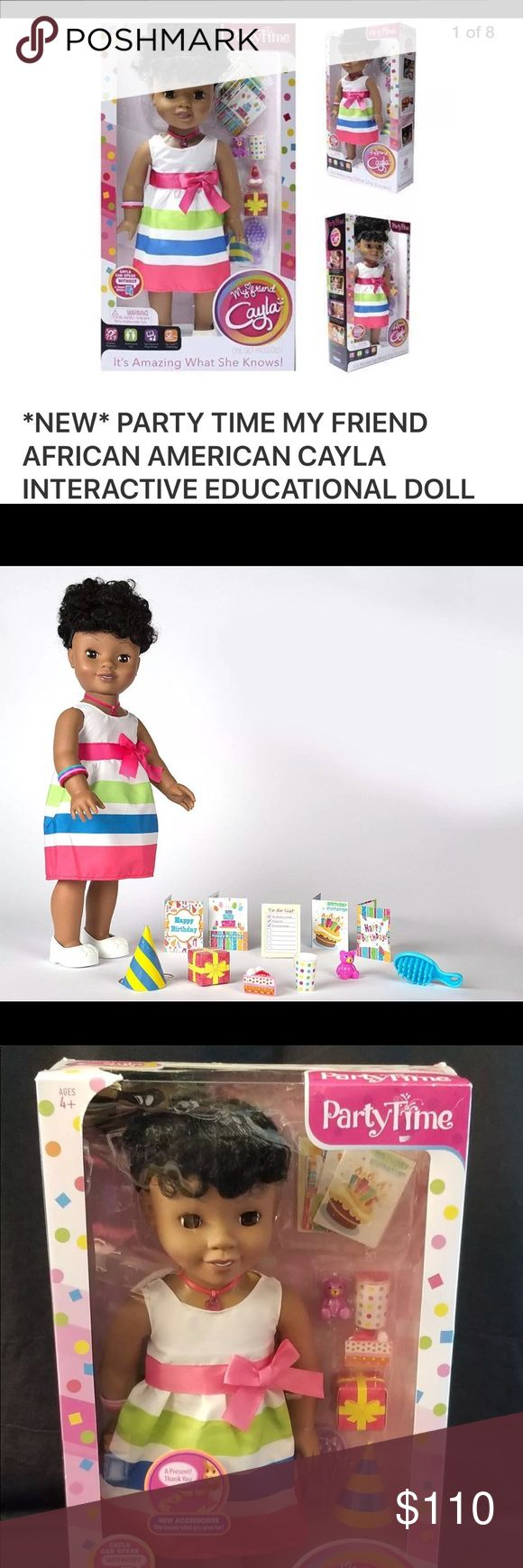 """🔥MY FRIEND CAYLA PART TIME INTERACTIVE DOLL 🎁 My Friend Cayla Party - Time is a beautiful 18"""" interactive doll that offers hours of imaginative play! Cayla can understand and respond to *You* or your child in real-time about almost anything. She can speak English or Spanish Cayla tells stories, play games, and she can sing too. EDUCATIONAL"""" As She can *Answer Millions of questions* about geography, history, math, spelling, and much...much more! •  She Works with Bluetooth Android and iOS…"""