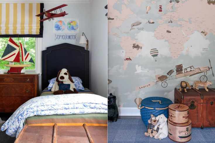 Portfolio – Courtney B Smith Design (Boy's Room: Serena and Lily Bed and blue basket, Custom Shade, Vintage Dresser and travel boxes, Vintage Trunk and Sailboat via One Kings Lane, Biscuit Home Bedding, Custom Wallpaper Panel via Little Hands)