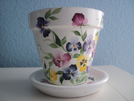 "Hand painted Flower Pot & Saucer: 6"" Multi colored Pansy Design Bonus Seed Packet included!"