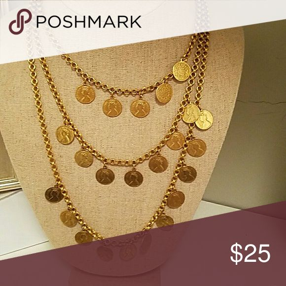 Necklace Gold coin multichain necklace Accessories
