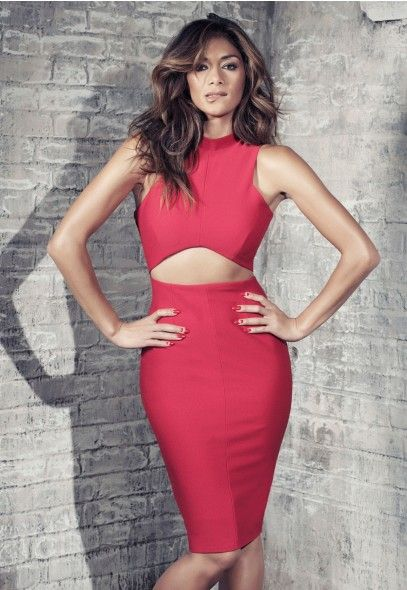 Nicole X Missguided Red Cut Out Dress Yes I Love This Soo Much With A Black High Heel Clutch And Little Gold Jewelry