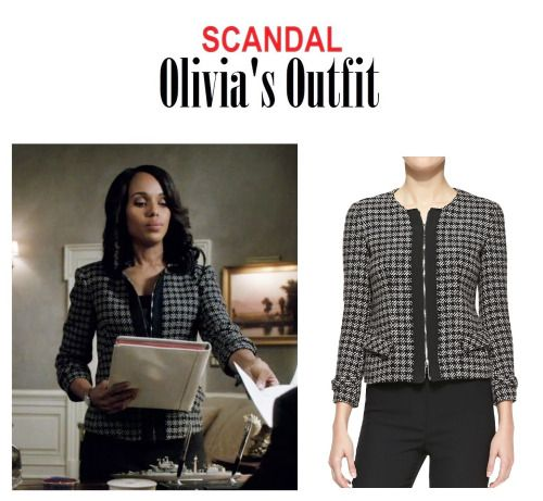 "On the Blog: Olivia Pope's (Kerry Washington) checkered tweed zip-front cardigan | Scandal (Ep. 417) - ""Put A Ring On It"" #tvstyle #tvfashion #TGIT #gladiators #fashion #outfits"