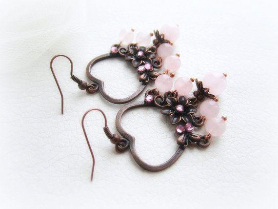 Rose quartz chandelier earrings stone beaded by MalinaCapricciosa