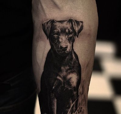 Incredible dog portrait tattoo by @oscarakermo
