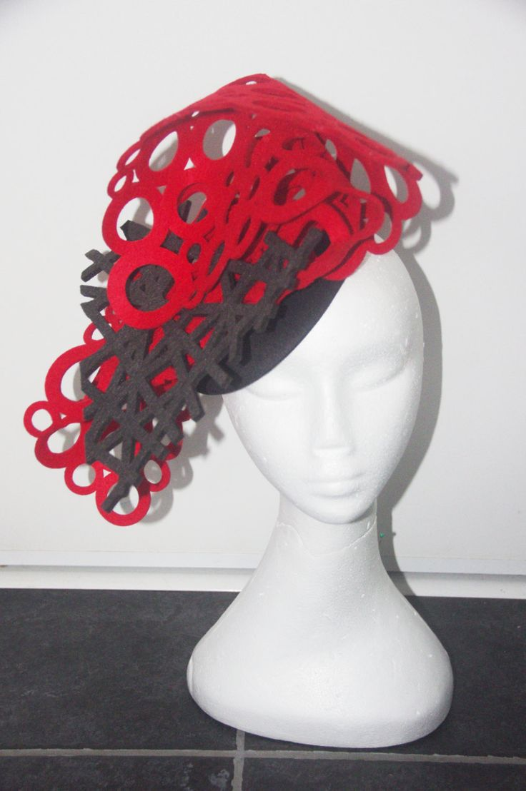 Designer fascinator one of a kind. Black and Red cut out felt  hand sewn on black felt base races, cup fashions on the feild by DesignerFascinators on Etsy