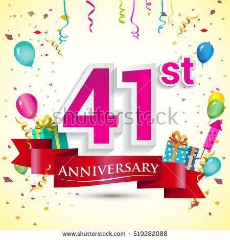 41st Years Anniversary Celebration Design, with gift box and balloons, red ribbon, Colorful Vector template elements for your birthday party.