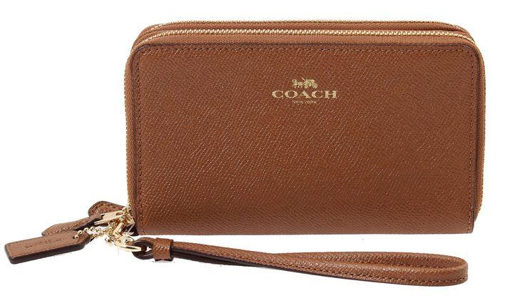 Coach Crossgrain Leather Double Zip Phone Wallet in Saddle, F57467 IMSAD